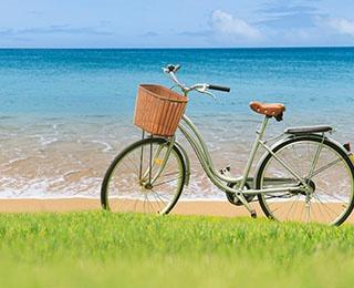 Biking vacation on the beach