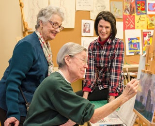 older adult painting