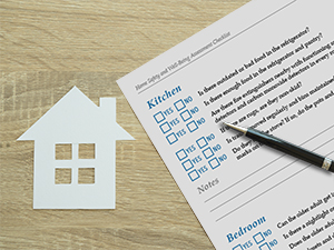 Home safety assessment checklist sitting on a desk